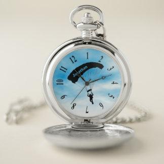 Reloj de bolsillo del diseño de Skydiving que se