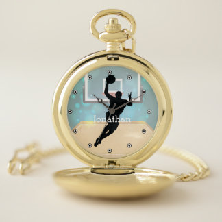 Reloj de bolsillo del diseño del baloncesto