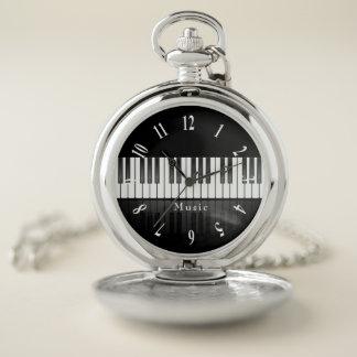 Reloj de bolsillo del diseño del teclado de piano