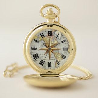 reloj de bolsillo del mapa del mundo y del compás