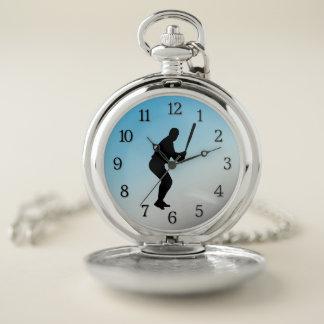 Reloj De Bolsillo Deportes del azul del talud del béisbol
