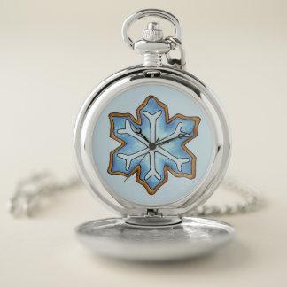 Reloj De Bolsillo Día de fiesta azul del navidad de Jánuca del