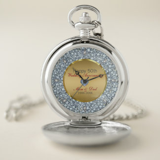Reloj De Bolsillo Diamantes de plata y aniversario de boda del