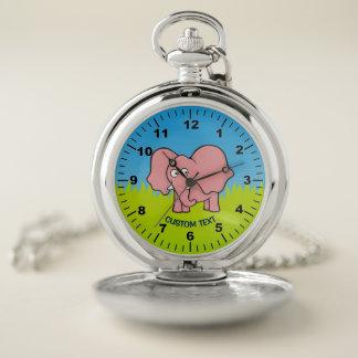 Reloj De Bolsillo Dibujo animado del elefante rosado