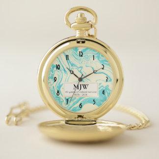 Reloj De Bolsillo Diseño de mármol en el retiro de la turquesa y de