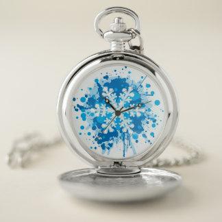 Reloj De Bolsillo Diseño salpicado del copo de nieve del navidad de