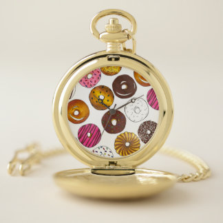Reloj De Bolsillo Docena desayunos Junk Food del buñuelo de los