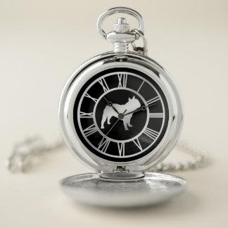 Reloj De Bolsillo Dogo francés de plata