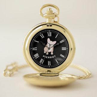 Reloj De Bolsillo Dogo francés rubio lindo con el nombre del perro