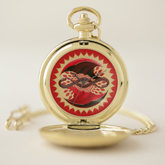 Reloj De Bolsillo Dragones entrelazados