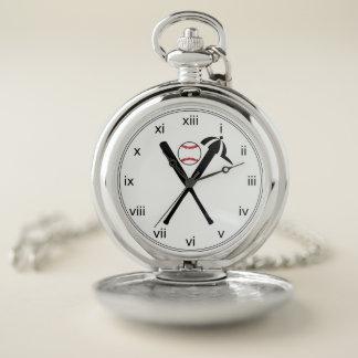 Reloj De Bolsillo El béisbol cruzó palos y negro y rojo del