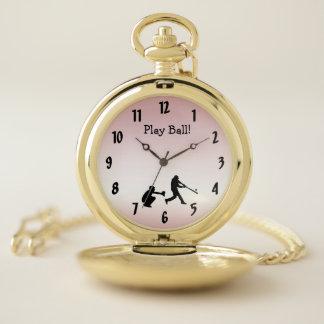 Reloj De Bolsillo El béisbol rosado de la bola del juego se divierte