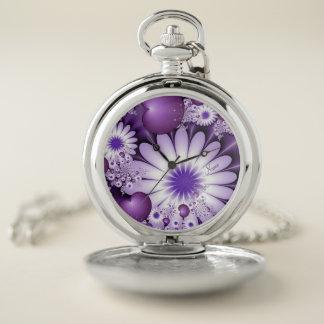 Reloj De Bolsillo El caer en nombre del fractal de las flores y de