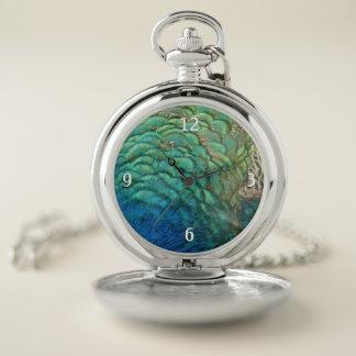 Reloj De Bolsillo El pavo real empluma diseño abstracto colorido de