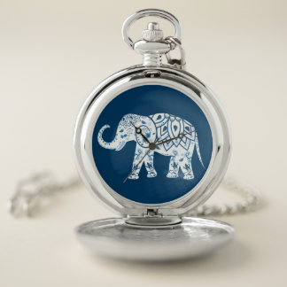 Reloj De Bolsillo Elefante azul modelado adornado