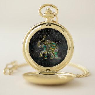 Reloj De Bolsillo Elefante capítulo oro en la decoración colorida