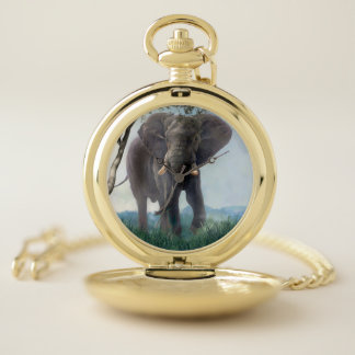Reloj De Bolsillo Elefante hacia fuera en los llanos del animal de