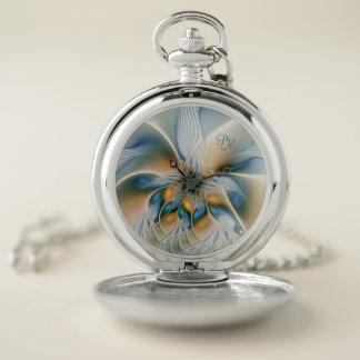 Reloj De Bolsillo Elevándose, resuma el fractal W. Blue Monogram de