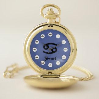 Reloj De Bolsillo Estándar del símbolo del zodiaco del cáncer