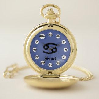 Reloj De Bolsillo Estándar del símbolo del zodiaco del cáncer (Kf)