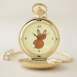 Reloj de bolsillo feliz del conejito de pascua