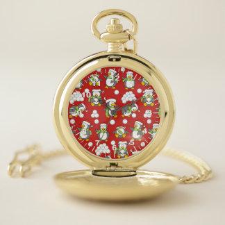 Reloj De Bolsillo Fondo de los pingüinos del navidad