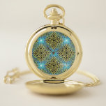 Reloj De Bolsillo Fondo del Monograma Victoriano Golden Trim Aqua