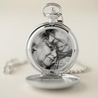 Reloj De Bolsillo Foto del aniversario. Nombres y año adaptables