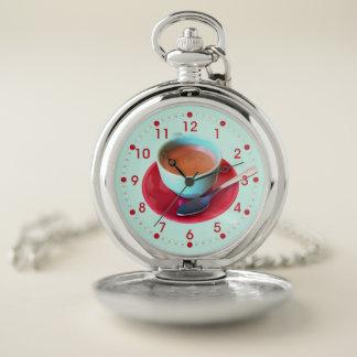 Reloj De Bolsillo Fotografía colorida de la taza y del platillo del
