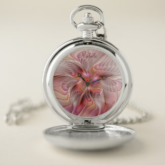 Reloj De Bolsillo Fractal colorido de la fantasía de la mariposa