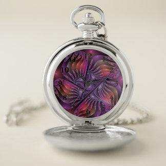 Reloj De Bolsillo Fractal púrpura moderno del extracto colorido de