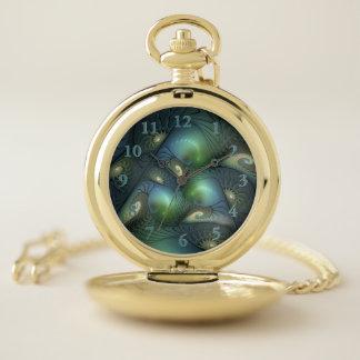 Reloj De Bolsillo Fractal verde beige de la turquesa de los
