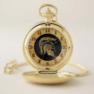 Reloj De Bolsillo Fragua prehistórica del casco del caballero de la