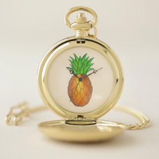 Reloj De Bolsillo Fruta hawaiana de la piña de Luau de la isla