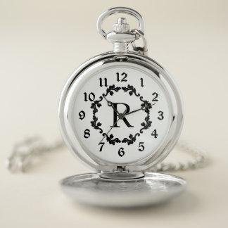 Reloj De Bolsillo Guirnalda con monograma clásica