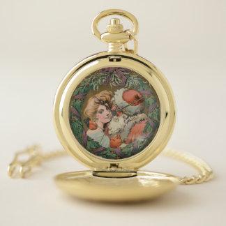 Reloj De Bolsillo Guirnalda del navidad de Santa del vintage que se