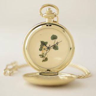 Reloj De Bolsillo Ilustracion botánico Corazón-Con hojas de