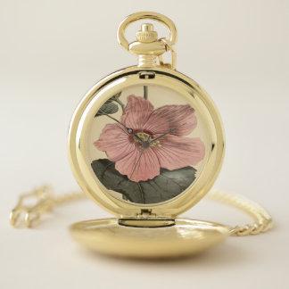 Reloj De Bolsillo Ilustracion botánico del hibisco del pantano