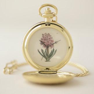 Reloj De Bolsillo Ilustracion botánico del jacinto del jardín