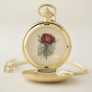 Reloj De Bolsillo Ilustracion botánico del Peony con hojas fino