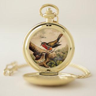 Reloj De Bolsillo Ilustracion salvaje del pájaro del vintage con el