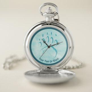 Reloj De Bolsillo Impresión de la pata del oso polar