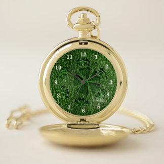 Reloj De Bolsillo Irlandés Cloverball de la Cuero-Mirada