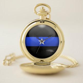 Reloj De Bolsillo Jefe de policía de una estrella fino de Blue Line