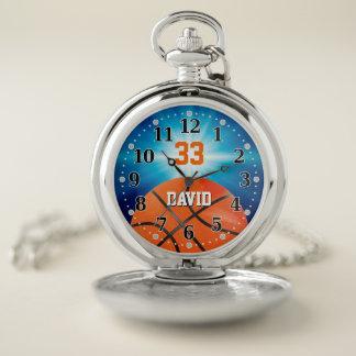 Reloj De Bolsillo Jugador de básquet número el | Personalizable