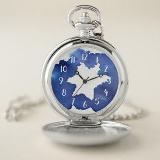 Reloj De Bolsillo La estrella azul de la acuarela de David resiste