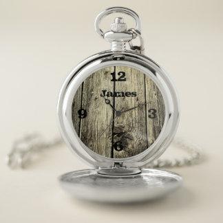 Reloj De Bolsillo La madera resistida rústica de la diversión añade