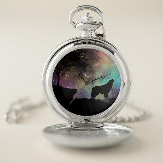 Reloj De Bolsillo La noche de la luna del aullido del lobo