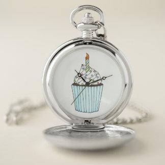 Reloj De Bolsillo La torta helada de la magdalena del cumpleaños