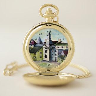Reloj De Bolsillo Lieja, un castillo de piedra místico surrealista -